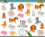 One of a kind with animals. Cartoon Illustration of Find One of a Kind Educational Activity Game for Preschool Kids with Animals Royalty Free Stock Image