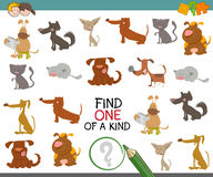 One of a kind with dogs. Cartoon Illustration of Find One of a Kind Educational Activity Game for Preschool Kids with Dogs Animal Characters Royalty Free Stock Photo