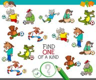 One of a kind with footballers animals. Cartoon Illustration of Find One of a Kind Picture Educational Activity Game for Children with Animal Football Players vector illustration
