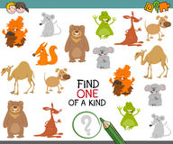 One of a kind game with animals. Cartoon Illustration of Find One of a Kind Educational Activity Game for Children with Animal Characters Stock Photos