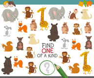 One of a kind game with animals. Cartoon Illustration of Find One of a Kind Educational Activity Game for Preschool Children with Cute Animal Characters Stock Photos