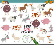 One of a kind game for children. Cartoon Illustration of Find One of a Kind Educational Activity Game for Kids with Animal Characters Stock Photography
