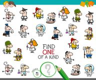 One of a kind game with people jobs color book. Cartoon Illustration of Find One of a Kind Picture Educational Activity Game for Children with Professional Royalty Free Stock Photo