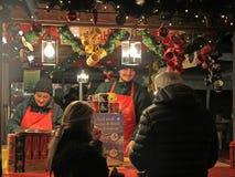 One of kiosks on the Christmas fair in Verona stock images