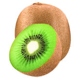 One kiwi and half isolated on white. Isolated kiwi. One kiwi and half isolated on white background as package design element. Healthy eating royalty free stock photos