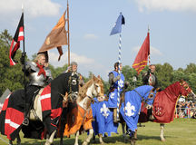 Knights on horse. One of the knight from ars equitandi. Ars Equitandi are show riders that often occurring on medieval festivals in Germany. You can see them at stock image