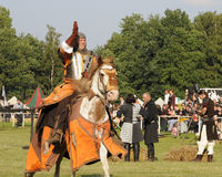 Knight on horse. One of the knight from ars equitandi. Ars Equitandi are show riders that often occurring on medieval festivals in Germany. You can see them at Stock Photos