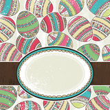 One label over  background of color easter eggs Royalty Free Stock Images