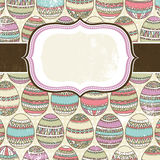 One label over  background of many easter eggs Stock Image