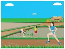 One lady run exercise Royalty Free Stock Image