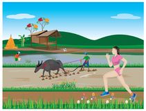 One lady run exercise Royalty Free Stock Images