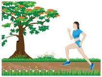 One lady run exercise Royalty Free Stock Photos