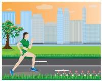 One lady run exercise Stock Photo