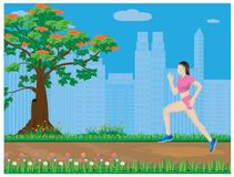 One lady run exercise Stock Images