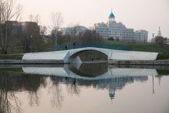 Moscow Russia. Park of Olympic village royalty free stock photo