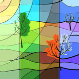 One landscape in four sesons. One landscape is in four seasons at the same time. Stained glass style Stock Photo