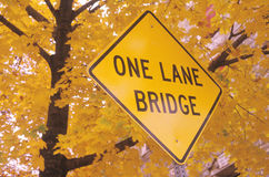 One Lane Bridge. A sign that reads One Lane Bridge Royalty Free Stock Photos