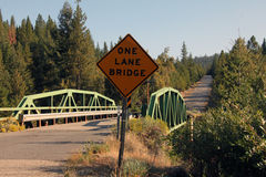 One lane bridge on a country road Stock Photo