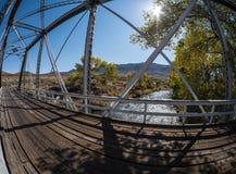 One lane bridge, extreme wide angle Royalty Free Stock Photo