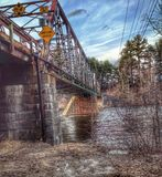 One Lane Bridge. At Sewalls Falls in Concord New Hampshire Royalty Free Stock Images