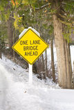 One Lane Bridge Sign Stock Photos