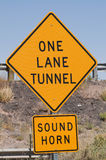 One Lane Tunnel Sign Stock Photos