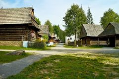 One of the lanes, typical of the Zuberec Museum of the Orava village. Wooden houses and typical older architecture royalty free stock image