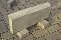 One large curb stone is made of concrete Royalty Free Stock Photography