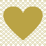 One large gold heart on many golden hearts Royalty Free Stock Photos