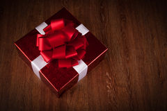One large red gift box top view Royalty Free Stock Photo