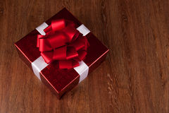 One large red gift box top view Royalty Free Stock Photos