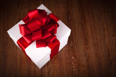One large white gift box top view Royalty Free Stock Image