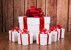 One large white gift box and white gift boxes Royalty Free Stock Image