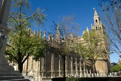 One of the largest churches in the Catholic world, a place of worship and pilgrimage, the cathedral of Seville Spain. Traveling in Spain, observing folklore stock photos