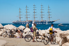 One of largest sailing ship anchored in the open sea near old city Piran, Slovenia Stock Image