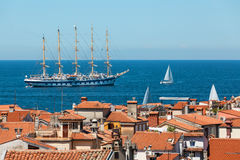 One of largest sailing ship anchored in the open sea near old city Piran Royalty Free Stock Photos