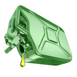 One last drop of fuel from jerrycan. Engine oil and green canist Royalty Free Stock Images