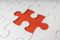 One last piece of white empty puzzle is missing.  Royalty Free Stock Images