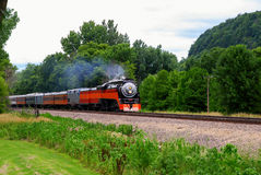 One of the last steam engine. Rushes on the bank of Mississippi river Royalty Free Stock Photo