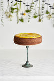 One layer sponge cake on the cake stand