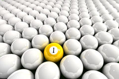 One leader. Yellow one ball surrounded by white billiard balls stock illustration