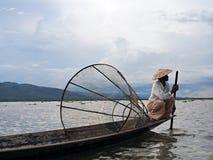 One Leg Rowing Fisherman on Inle Lake Royalty Free Stock Photos