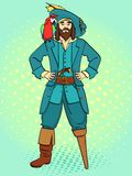 One-legged captain, wooden foot, man is a pirate, a sailor. Vector, pop art background. Imitation comic style. One-legged captain, wooden foot, man is a pirate royalty free illustration