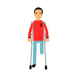 One legged disabled man with crutches colorful  Illustration. On a white background Stock Photos
