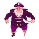 One-legged, gebaarde piraat in een hoed met opgeslagen randen met schedel Mens in laag Stock Fotografie