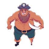 One-legged, gebaarde piraat in hoed met opgeslagen randen met een schedel Royalty-vrije Stock Foto