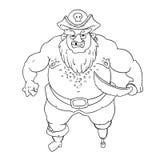One-legged, gebaarde piraat in hoed met opgeslagen randen met een schedel Stock Afbeelding