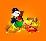 One-legged piraatkapitein met schat Vector royalty-vrije illustratie