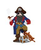 One-legged pirate. With hook, tube and pistol behind belt in hand costs has leaned wooden foot against chest, isolated Royalty Free Stock Photography