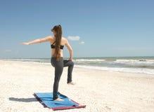 One legged yoga twist Stock Images